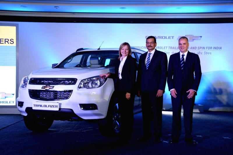 GM CEO Mary Barra, Executive Vice President, Stefan Jacoby and GM India President and Managing Director Arvind Saxena at the of launch the Chevrolet Trailblazer in New Delhi, on July 29, ...