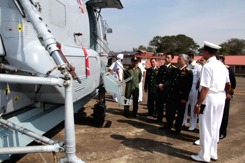 A Vietnamese delegation led by the Deputy Minister of National Defence (Vietnam) Senior Lieutenant General Nguyen Chi Vinh visits  INS Hansa in Goa on Jan 15, 2015.