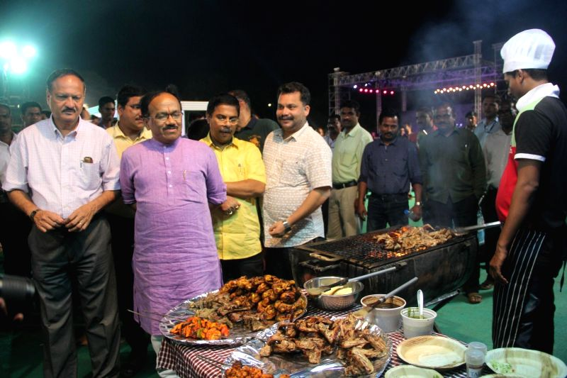 Goa Chief Minister Laxmikant Parsekar during the inauguration of the Goa Food and Cultural Festival 2016 in Panaji on April 6, 2016. Also seen Goa Tourism Minister Dilip Parulekar. - Laxmikant Parsekar