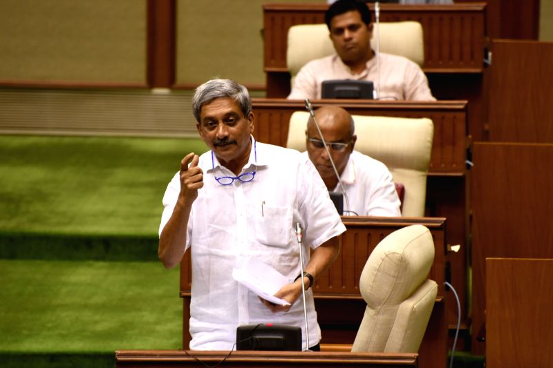 Goa Chief Minister Manohar Parrikar addresses at the state assembly in Panaji on May 9, 2017. The Goa assembly on Tuesday unanimously passed the Goods and Services Tax bill after a brief ... - Manohar Parrikar