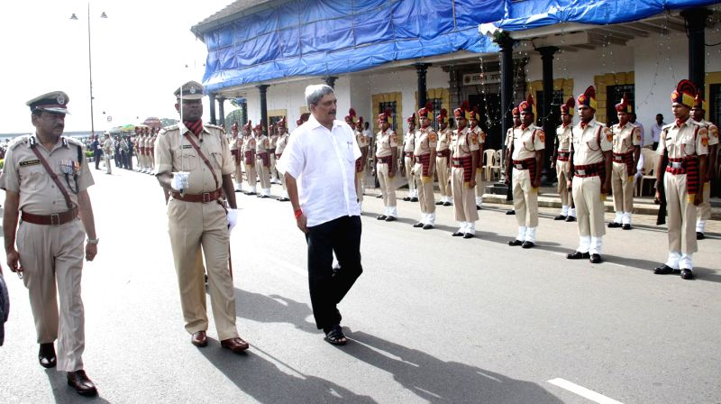 Goa Chief Minister Manohar Parrikar inspects Guard of Honour during 68th Independence Day celebrations in Panaji on Aug 15, 2014.