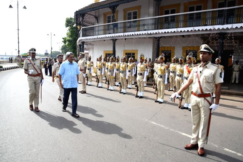 Goa Chief Minister Manohar Parrikar inspects guard of honor during Independence Day parade near Old Secretariat in Panaji on Aug 15, 2017.