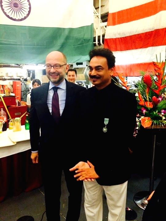 French ambassador to India Francois Richier with fashion designer Wendell Rodricks who was honoured the Knight of the Order of Arts and Letters (Chevalier de l'Ordre des Arts et Lettres) award ...