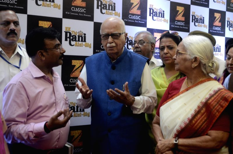 "Goa Governor Mridula Sinha and BJP veteran LK Advani during the red carpet of screening of film ""Ek Thi Rani Asis Bhi"" at Siri Fort auditorium in New Delhi on April 18, 2017. - Mridula Sinha"