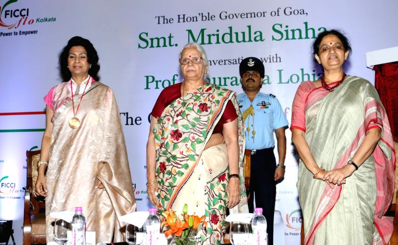 """Goa Governor Mridula Sinha and Presidency University Vice Chancellor Prof. Anuradha Lohia during the launch of """"Swayam"""" - Business Consultancy Cell for Women in Kolkata on July 26, ... - Mridula Sinha"""