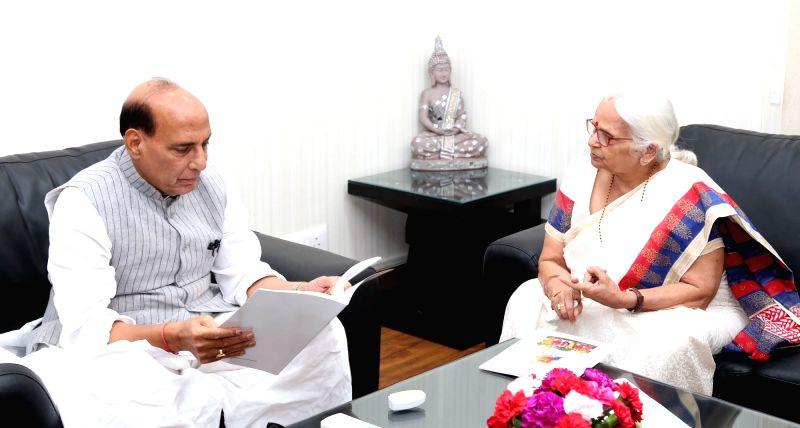Goa Governor Mridula Sinha calls on the Union Home Minister Rajnath Singh, in New Delhi on May 2, 2017. - Rajnath Singh and Mridula Sinha