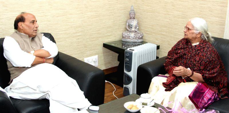 Goa Governor Mridula Sinha calls the Union Home Minister Rajnath Singh, in New Delhi, on Jan 16, 2016. - Mridula Sinha