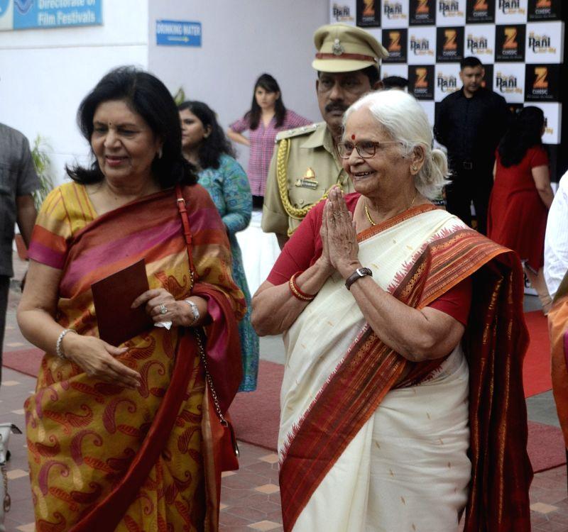 """Goa Governor Mridula Sinha (R) during the red carpet of screening of film """"Ek Thi Rani Asis Bhi"""" at Siri Fort auditorium in New Delhi on April 18, 2017. - Mridula Sinha"""