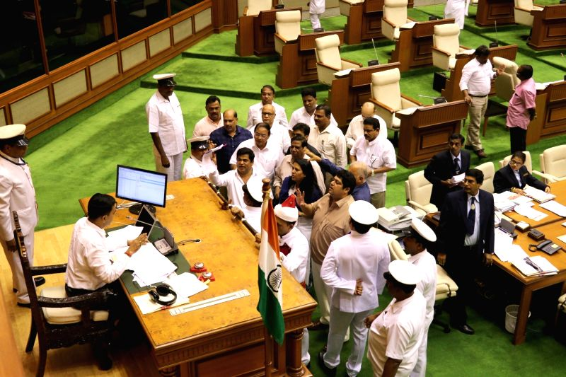 Goa Legislative Assembly Speaker Pramod Sawant tries to calmdown the agitated delegation during the first day of Monsoon Session of Goa Legislative Assembly at Porvorim, Goa on July 19, ... - Pramod Sawant