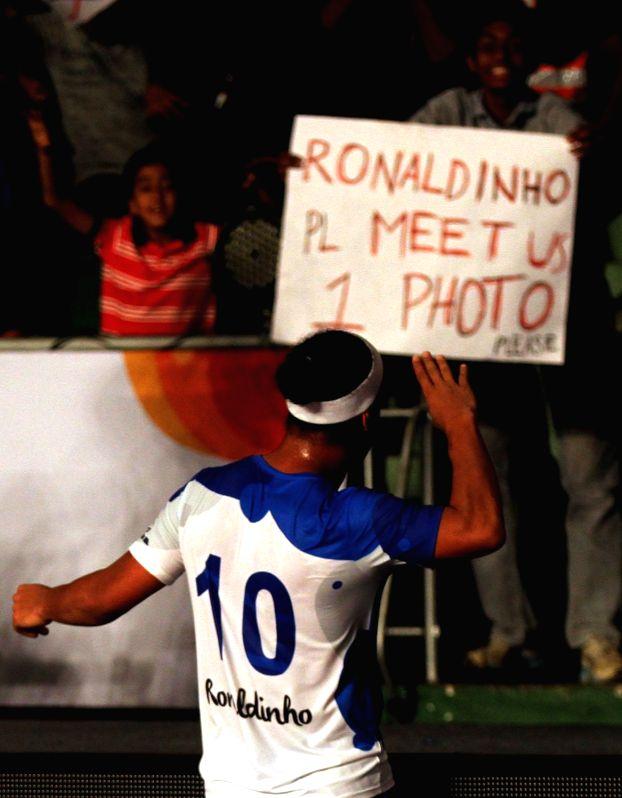 Goa's Ronaldinho celebrates during a Premier Futsal match between Goa and Bengaluru; in Chennai on July 17, 2016.