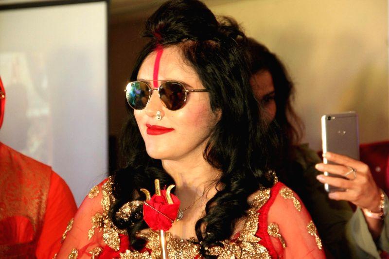 "Godwoman Radhe Maa at the trailer launch of comic web series ""Raah De Maa"" in Mumbai on Aug 7, 2018."