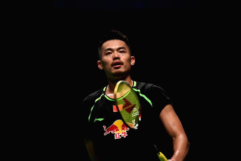 GOLD COAST, May 21, 2017 - China's Lin Dan reacts during the men's singles match of Group 1-Group 1A against Hu Yun of Hong Kong, China at TOTAL BWF Sudirman Cup 2017 in Gold Coast, Australia, May ...