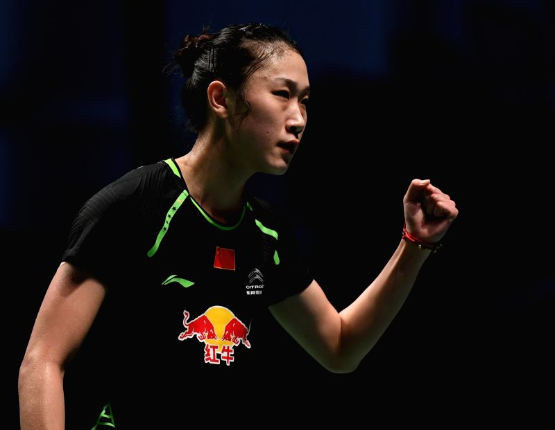 GOLD COAST, May 21, 2017 - China's Sun Yu celebrates during the women's singles match of Group 1-Group 1A against Fan Ka Yan of of Hong Kong, China at TOTAL BWF Sudirman Cup 2017 in Gold Coast, ...