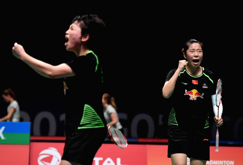 GOLD COAST, May 24, 2017 - China's Jia Yifan (R) and Chen Qingchen celebrate during the women's doubles match of Group 1-Group 1A against Thailand's Sapsiree Taerattanachai and Jongkolphan ...