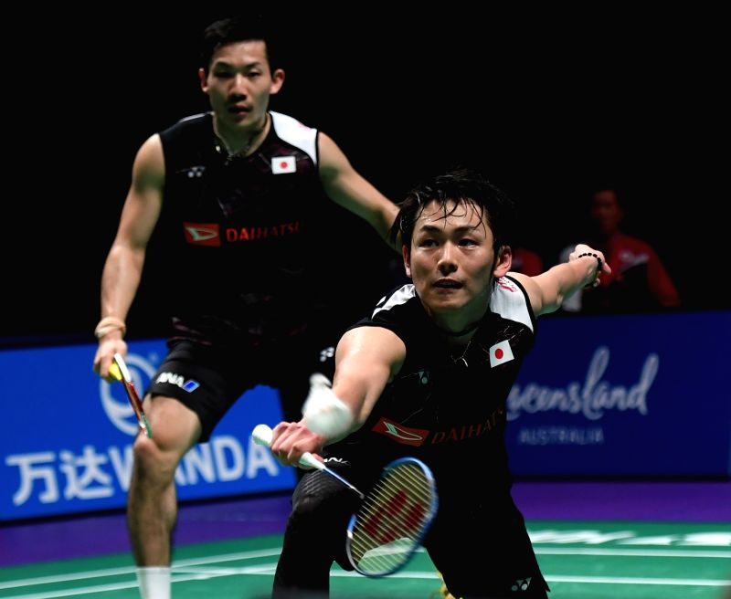 GOLD COAST, May 24, 2017 - Kamura Takeshi(R)/Sondoa Keigo of Japan compete during the men's doubles match of Group 1-Group 1C against Goh V Shem/Tan Wee Kiong of Malaysia at TOTAL BWF Sudirman Cup ...