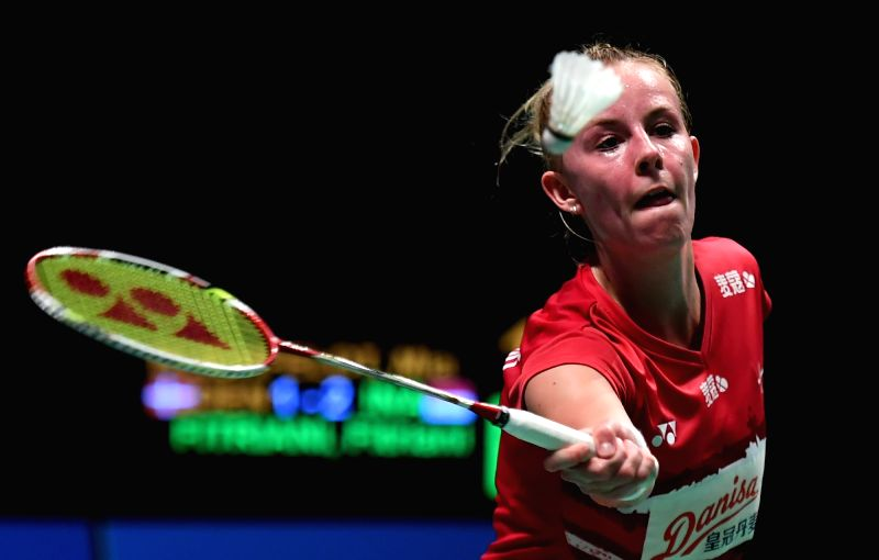 GOLD COAST, May 24, 2017 - Mia Blichfeldt competes during the women's singles match of Group 1-Group 1D against Fitriani Fitriani of Indonesia of Denmark at TOTAL BWF Sudirman Cup 2017 in Gold Coast, ...