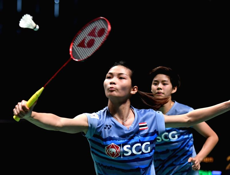GOLD COAST, May 24, 2017 - Thailand's Jongkolphan Kititharakul (L) and Sapsiree Taerattanachai compete during the women's doubles match of Group 1-Group 1A against China's Chen Qingchen and Jia Yifan ...