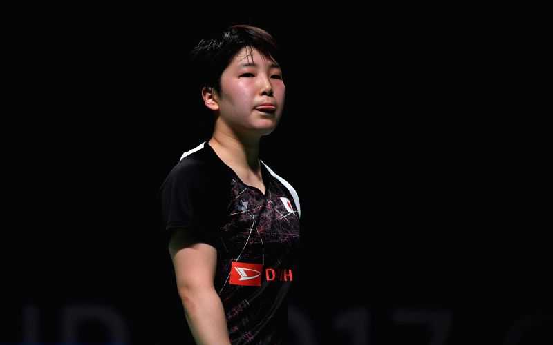 GOLD COAST, May 24, 2017 - Yamaguchi Akane of Japan reacts during the women's singles match of Group 1-Group 1C against Goh Jin Wei of Malaysia at TOTAL BWF Sudirman Cup 2017 in Gold Coast, ...