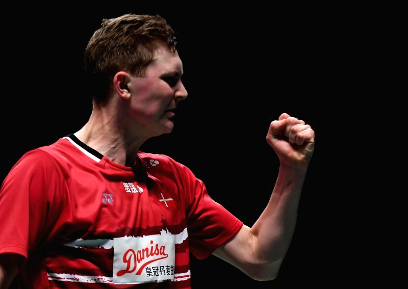 GOLD COAST, May 25, 2017 - Viktor Axelsen of Denmark celebrates during the men's singles match of Group 1 against Tanongsak Saensomboonsuk of Thailand at TOTAL BWF Sudirman Cup 2017 in Gold Coast, ...