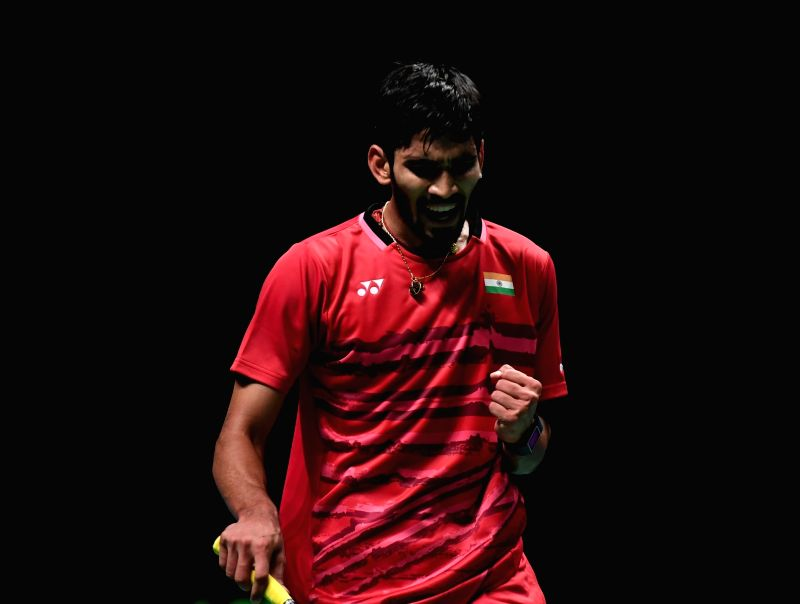 GOLD COAST, May 26, 2017 - Kidambi Srikanth of India reacts during the men's singles match of Group 1 against Chen Long of China at TOTAL BWF Sudirman Cup 2017 in Gold Coast, Australia, May 26, 2017. ...