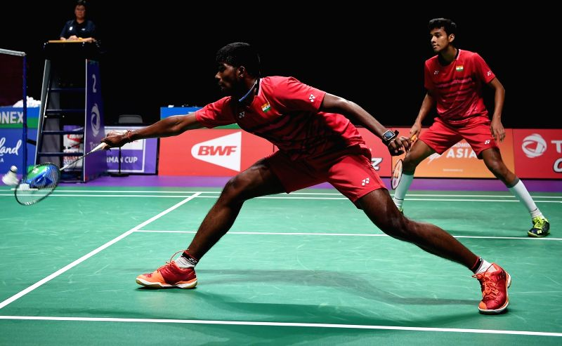GOLD COAST, May 26, 2017 - Satwiksairaj Rankireddy (L) and Chirag Shetty of India compete during the men's doubles match of Group 1 against Fu Haifeng and Zhang Nan of China at TOTAL BWF Sudirman Cup ... - Chirag Shetty