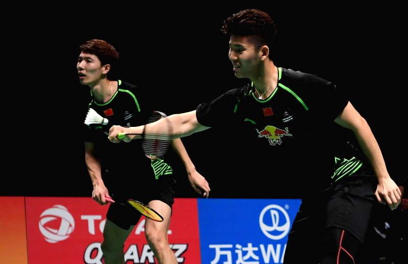 GOLD COAST, May 27, 2017 - China's Liu Yuchen(R)/Li Junhui compete during the men's doubles match against Japan's Kamura Takeshi/Sonoda Keigo at the semifinal between China and Japan at TOTAL BWF ...