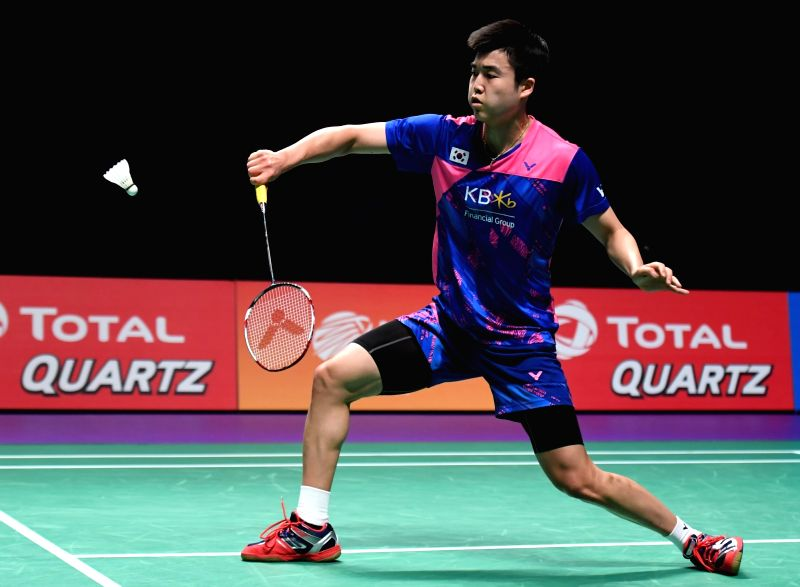 GOLD COAST, May 28, 2017 - South Korea's Jeon Hyeok Jin returns the shuttlecock during the men's singles match against China's Chen Long at the final between China and South Korea at TOTAL BWF ...