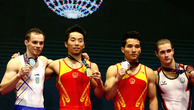 Gold medalist You Hao of China (2nd L), silver medalist Oleg Verniaiev of Ukraine (1st L) and bronze medalists Deng Shudi of China (2nd R), Oleg Stepko of Azerbaijan ...