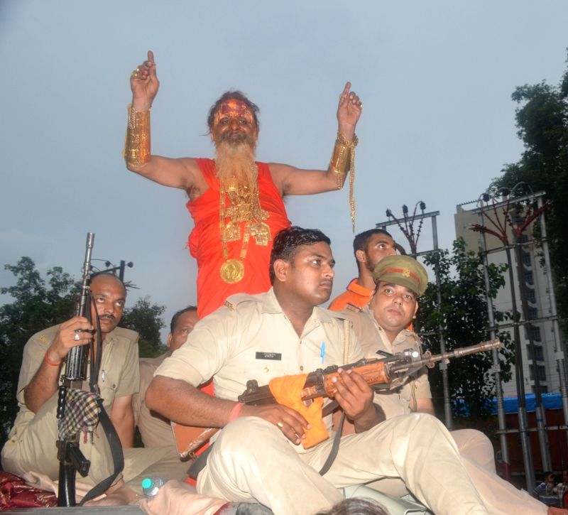 Golden Baba alias Sudhir Kumar - a devotee of Shiva, who sports around 12.5 kg gold ornaments worth several crores passes through Ghaziabad during Saawan on July 29, 2016. - Sudhir Kumar