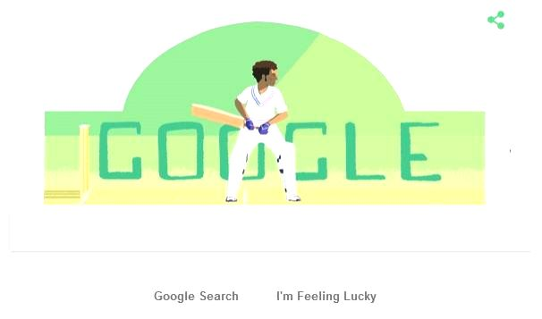 Google Doodle of cricketer Dilip Sardesai on his birthday