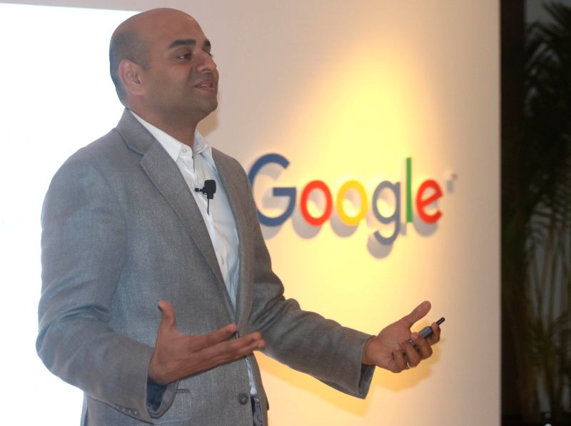 Google Product Manager Prem Ramaswami addresses a press conference regarding health information in New Delhi, on April 5, 2016.