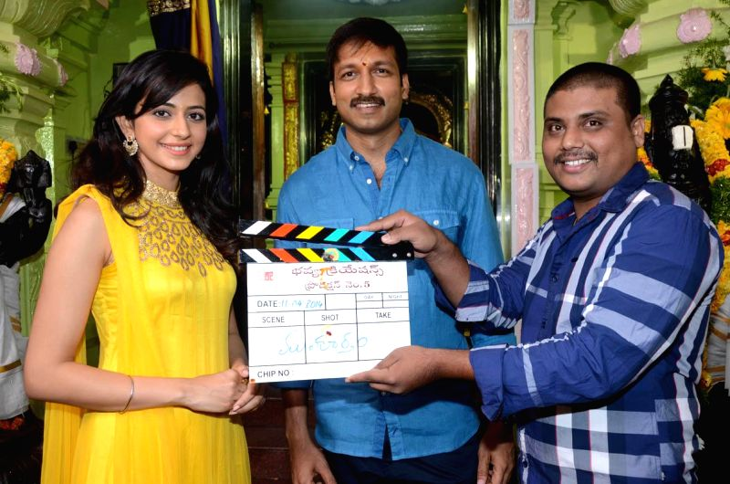 Gopichand, Rakul Preeeth Singh during the puja mahurat of their new film at Kukatpally of Hyderabad, Srivas directing the film . - Rakul Preeeth Singh