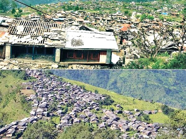 An aerial view of earthquake hit Barpak village in Nepal's Gorkha district on April 29, 2015.
