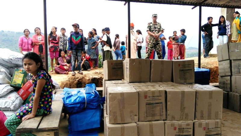 Relief supplies are seen in Gorkha County, the epicenter of Saturday's quake in Nepal, on April 28, 2015. The death toll from Saturday's earthquake as well as ...