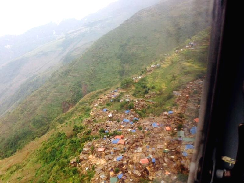 Gorkha (Nepal): An aerial view of earthquake hit Laprak village of Nepal's Gorkha district, some 230 km west of Kathamandu on April 27, 2015.