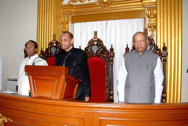 Governor of AP ESL Narasimhan addressing a joint session of both the Houses of Andhra Pradesh legislative assembly and council at AP Assembly in Hyderabad on June 21, 2014.