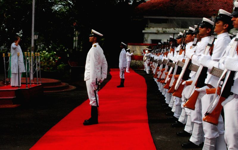 Governor of Maharashtra K Sankaranarayanan, who resigned after his abrupt transfer to Mizoram, being accorded a ceremonial Guard of Honour by the Indian Navy at Raj Bhavan, Mumbai on Aug 24, ...