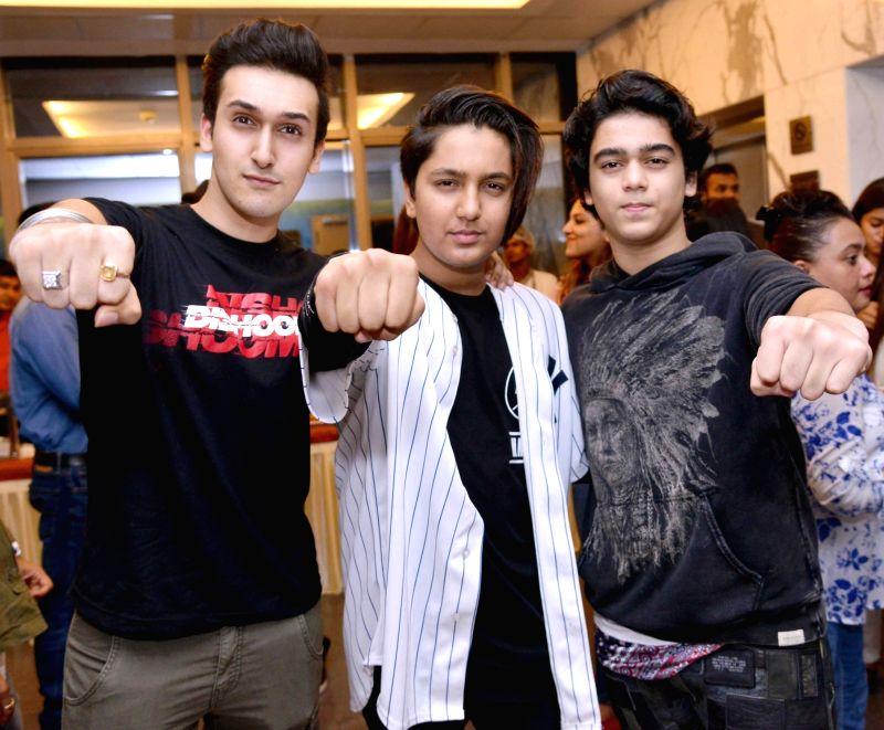 Govinda`s son Yash, Ahmed khan`s son Azan, Sajid Nadiad Wala`s son Shubhan during the screening of film Dishoom in Mumbai, on July 28, 2016.
