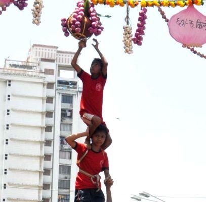 Govindas formed human pyramid on occasion of Dahi Handi festival