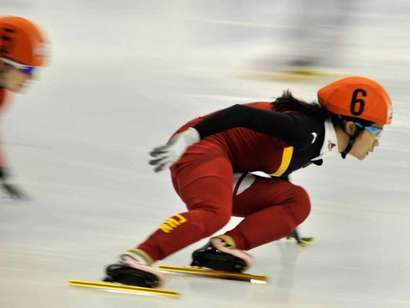 China's Han Yutong competes during the ladies' 500m short track final at the 27th World Winter Universiade in Granada, Spain, Feb. 12, 2015. Han claimed the title ..