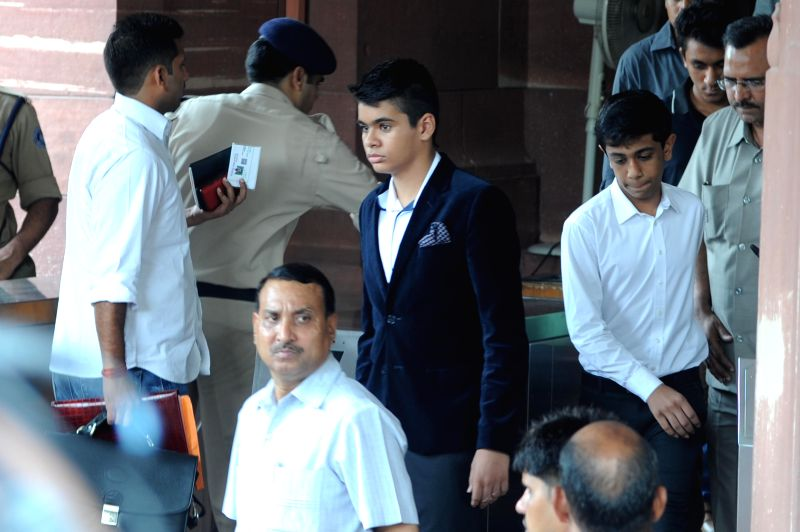 Grandson of Congress chief Sonia Gandhi and son of Priyanka Gandhi Raihan Vadra on a visit to the Parliament in New Delhi on July 16, 2014. - Sonia Gandhi