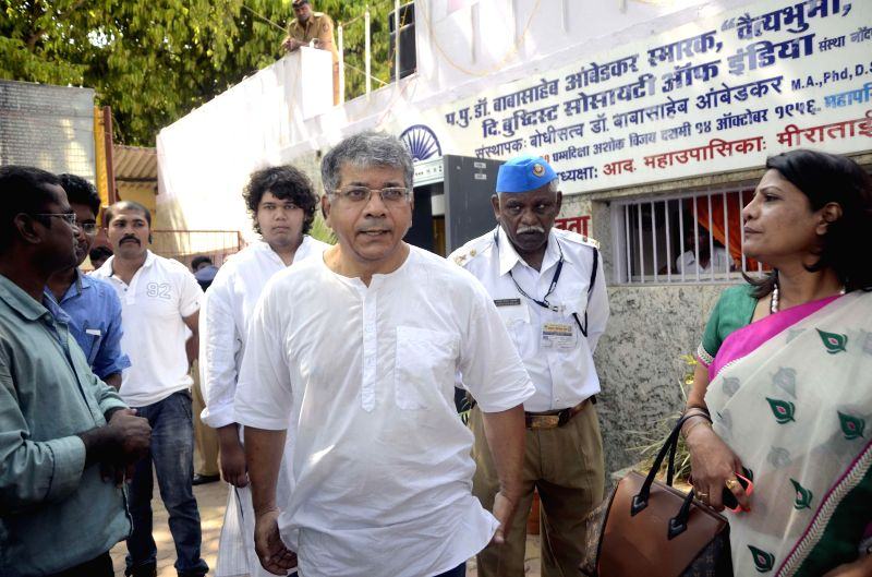 Grandson of Dr. BR Ambedkar, Prakash Ambedkar arrives to pay tribute to his grandfather  on his birth anniversary at Chaitya Bhoomi in Mumbai on April 14, 2014.