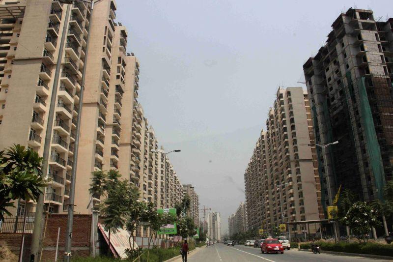 Greater Noida: Under-construction skyscrapers in Greater Noida.