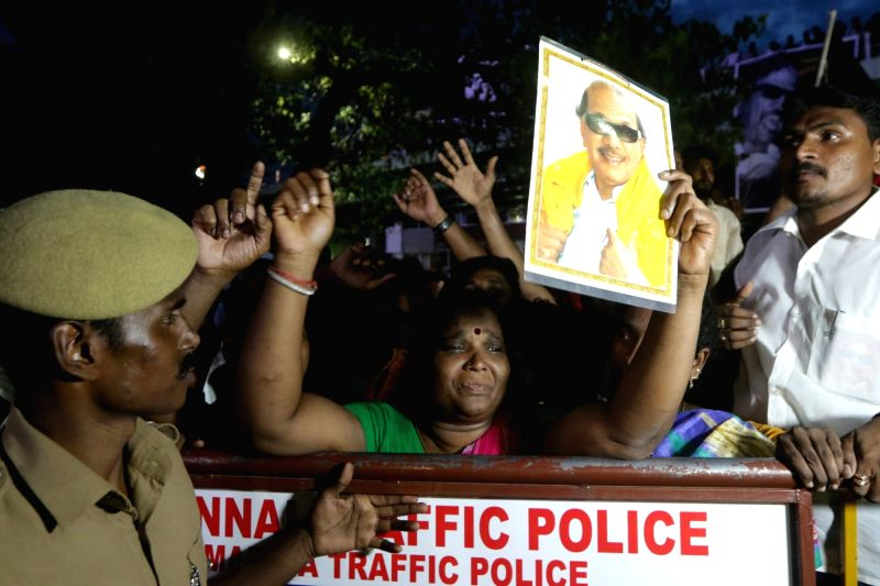 Grief struck supporters of Former Tamil Nadu Chief Minister and DMK stalwart M. Karunanidhi outside Kauvery Hospital where he breathed his last in Chennai on Aug 7, 2018.