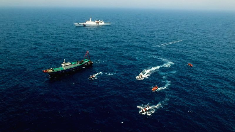 GUANGZHOU, April 20, 2017 - Maritime policemen from China and Vietnam is to inspect a Chinese fishing boat during a China-Vietnam joint fishery inspection in the Beibu Gulf, April 19, 2017. China and ...