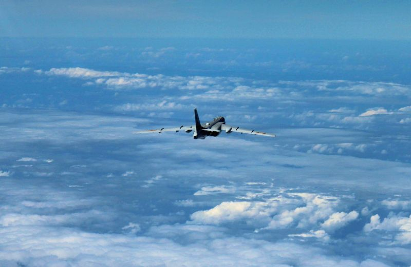 GUANGZHOU, Aug. 6, 2016 - A H-6K bomber is seen during a partol over the South China Sea. Chinese Air Force aircraft, including H-6K bombers and Su-30 fighters, have completed a patrol of airspace ...