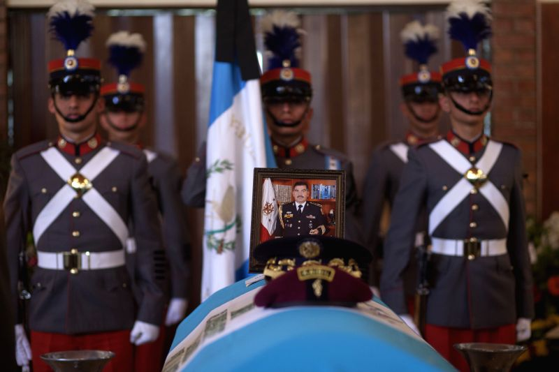 Cadets of the Polytechnic School stand guard during the funeral of General Rudy Israel Ortiz, Guatemalan National Defense Chief of Staff, in Guatemala City, .
