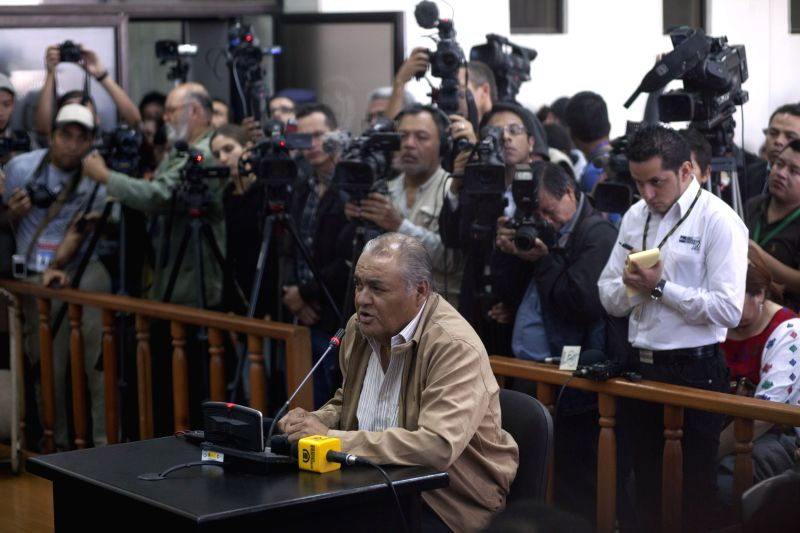 Former Guatemalan police chief Pedro Garcia Arredondo stands trial in Guatemala City, capital of Guatemala, Jan. 19, 2015. According to local press, criminal