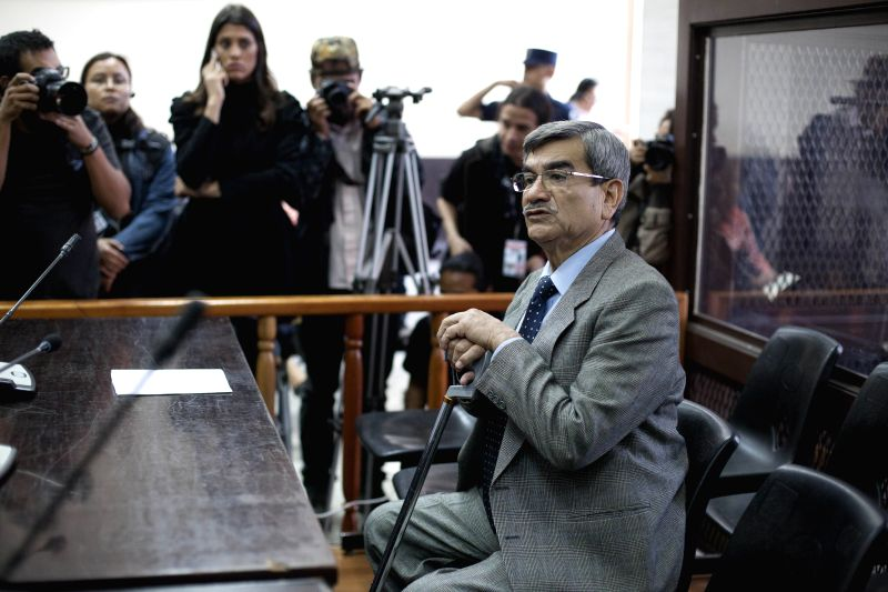 Mauricio Rodriguez Sanchez, former military intelligence chief of Guatemala's Former President Efrain Rios Montt stands trial at the Supreme Justice Court in .