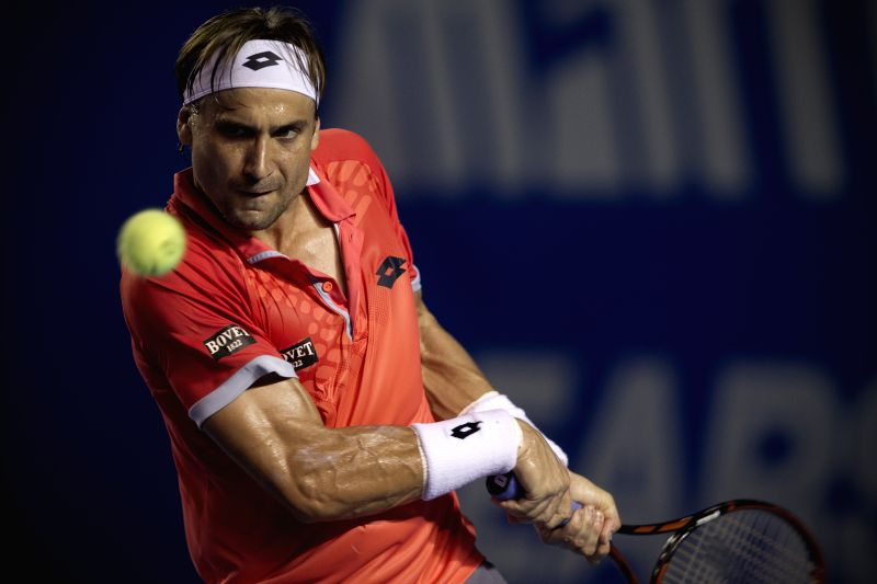 Spain's David Ferrer returns the ball during the men's singles final match against Japan's Kei Nishikori on the Mexican Tennis Open 2015 tournamentin Acapulco, ...